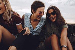 Women enjoying a country road ride
