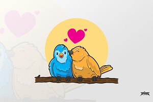 Birds kissing Vector