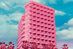Fashion hotel. Pink colorful minimal