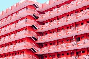 Pink hotel. Minimal fashion modern a