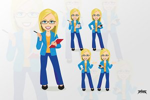 Blonde bussiness woman vector