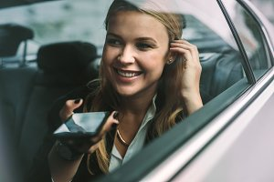 Businesswoman making phone call
