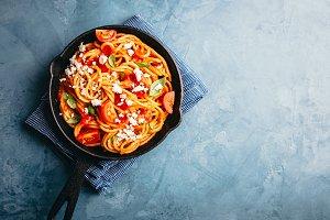 Italian pasta with tomato sauce