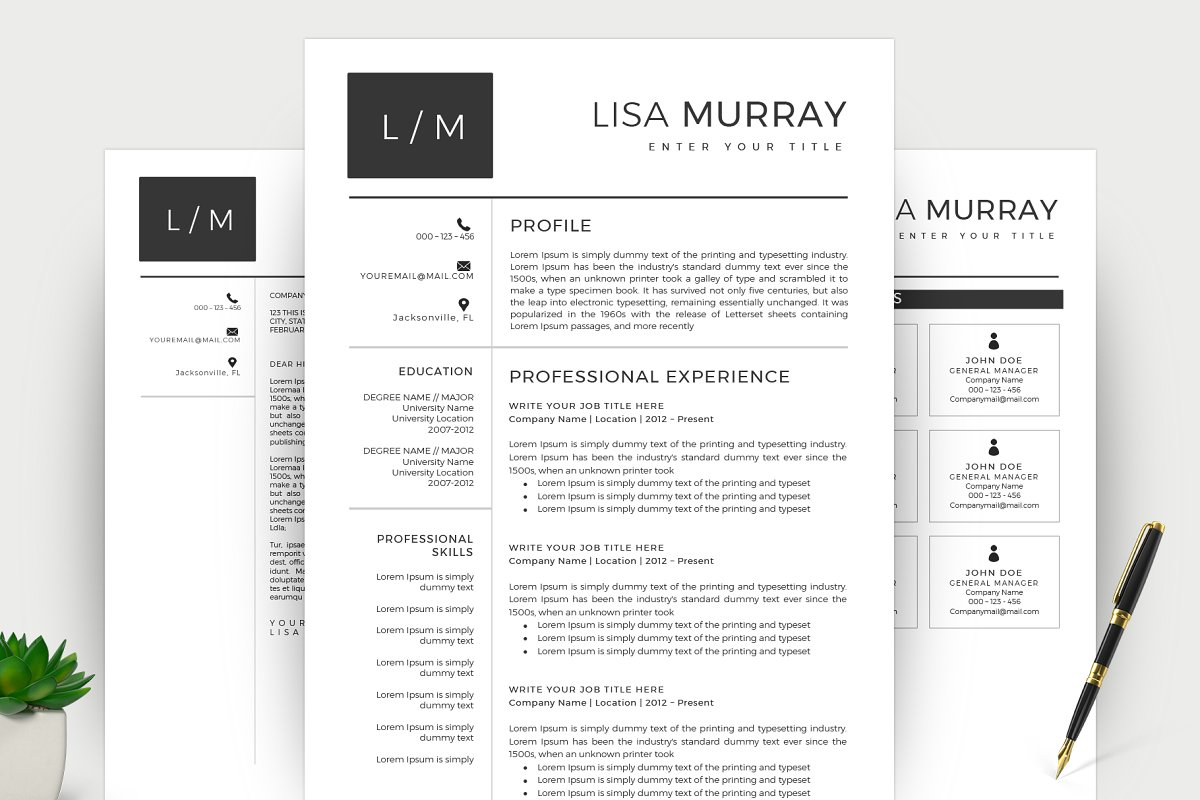 Modern Resume CV Template Word Templates Creative Market