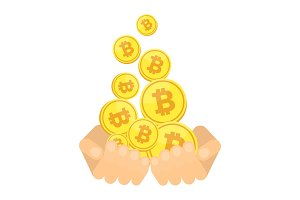 hands with bitcoin