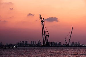 Sunset at the Dubai seaport, UAE