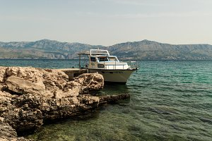 Adriatic sea view with a park boat