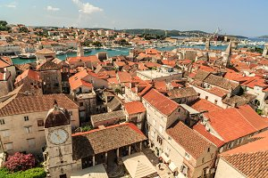 Aerial view on Old city Trogir