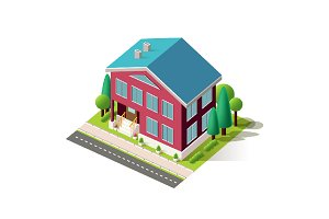 Isometric facade red home penthouse