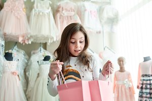 cute little girl on shopping