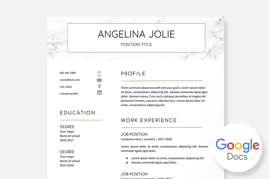 Resume Template Google Docs ~ Resume Templates ~ Creative Market