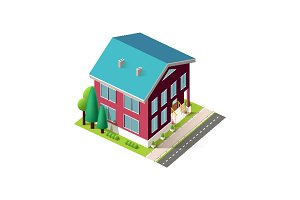 Isometric facade red home near road