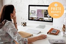 Woman using iMac - 12 photo mockups