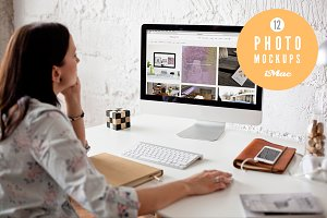Woman using iMac - 12 photo mockups