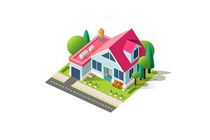 Isometric facade home cottage