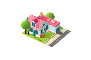 Isometric facade cottage with garage