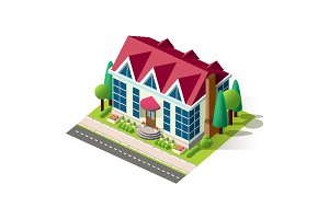 Isometric facade house home cottage