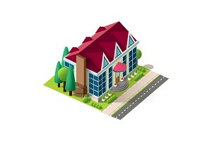 Isometric facade cottage near road