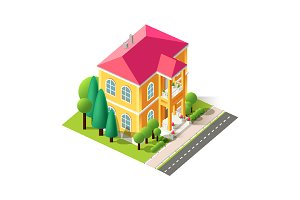 Isometric facade yellow home