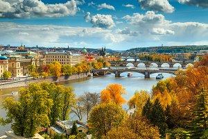 Fantastic autumn panorama in Prague