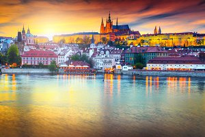 Beautiful colorful sunset in Prague