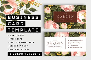 Peonies - business card