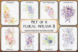 Watercolor sprays II: set of 8