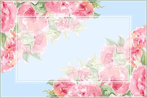 Watercolor rose peony frame vector