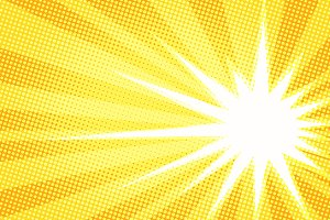 white sun yellow pop art background