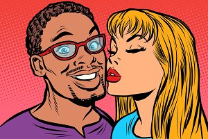 woman kisses a man. multi-ethnic