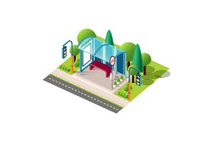 Isometric blue bus station near road