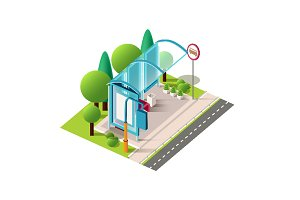 Isometric blue trolleybus station