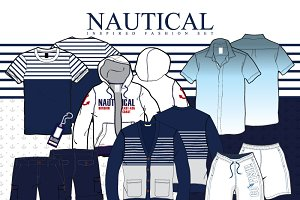 Nautical Inspired Vector Fashion Set