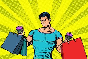 strong muscular man with bags on