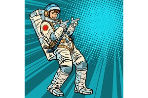 Astronaut young man points