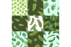 Vector tropical leaves green exotic