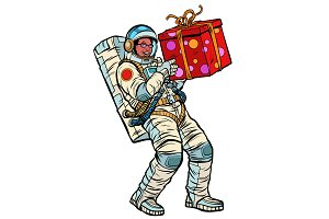 Cosmonaut with gift box. African