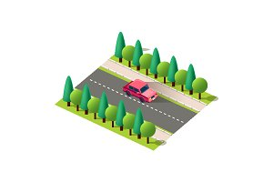 Isometric red sedan car on the road