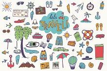 Hand drawn travel elements
