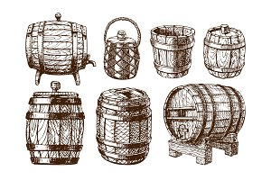 Wooden barrel vintage old hand drawn