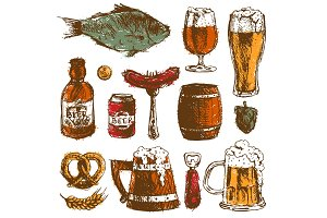 Beer food hand drawn sketch vector