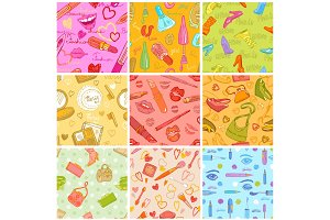 Fashion cosmetic seamless pattern
