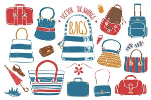 Bags and Suitcases Vector Drawings