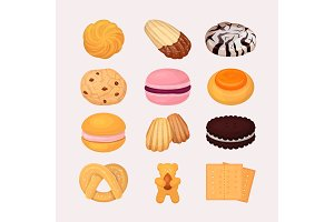 Cookie and biscuits vector baking