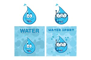 Blue Water Drop Cartoon Characters