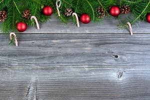 Christmas Decorations on aged wood