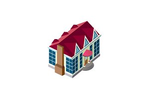 Isometric facade house with roof