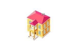 Isometric facade yellow house
