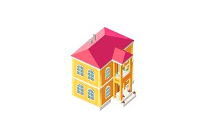 Isometric facade yellow cottage