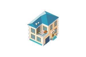 Isometric facade beige penthouse